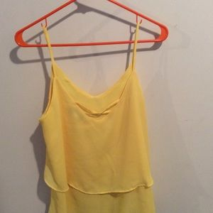 Annabelle Tops - Yellow Layered Tank Top